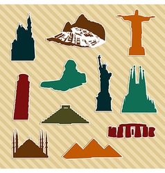 World landmark silhouettes vector image