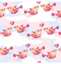 Birds and hearts on cloudy background vector image vector image