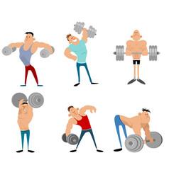 six bodybuilders set vector image