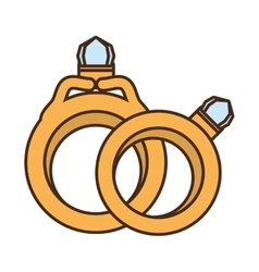 two rings wedding gold jewelry design vector image
