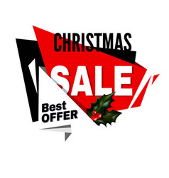 christmas sale best offer promotional emblem with vector image vector image
