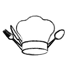 contour hat with cutlery icon vector image