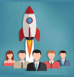 group of business people with rocket behind them vector image