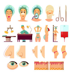 plastic surgery orthogonal icons vector image
