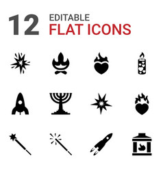 12 flame icons vector image