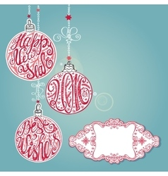 2016 New yearChristmas card lettering ballsBlue vector image