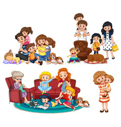 a set of family member vector image