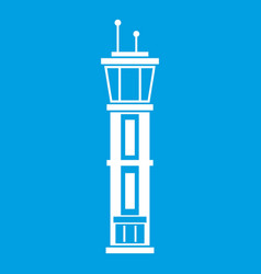 airport control tower icon white vector image