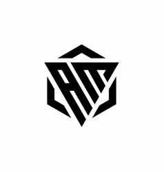 Am logo monogram with triangle and hexagon modern vector