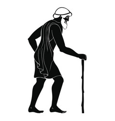 Ancient greek old man with a staff vector