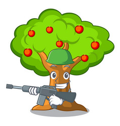 Army apple orchard with basket of cartoon vector