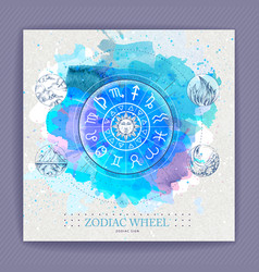 Astrology horoscope wheel with zodiac signs vector