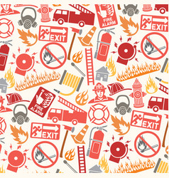 background pattern with firefighter icons and symb vector image