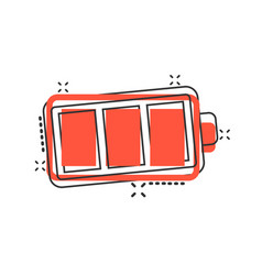 Battery charge icon in comic style power level vector