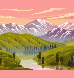 Beautiful view at evening summer scenery with pink vector