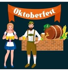 Beer festival Oktoberfest celebrations retro style vector