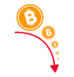bitcoin deflation trend flat icon vector image