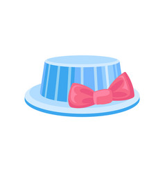 blue hat with pink bow party holidays vector image