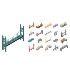 bridges icons set isometric style vector image