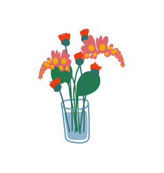 bright spring or summer flowers in glass vector image