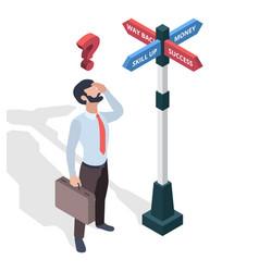 Businessmen choosing destination direction arrows vector