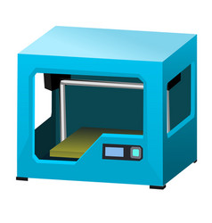 cartoon 3d printer isolated on white background vector image