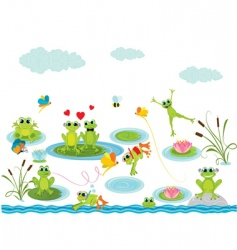 cartoon frogs vector image