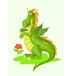Cartoon green dragon vector image