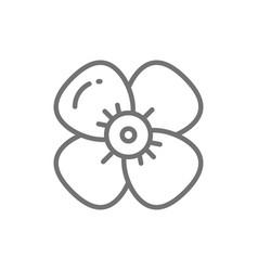 Cherry flower apple blossom line icon vector