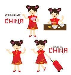 Chinese Girl Dress Cheongsam Character Set vector