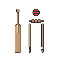 color icon wooden cricket gate ball goal vector image