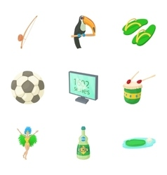 Country Brazil icons set cartoon style vector