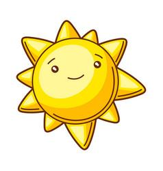 cute kawaii sun funny seasonal vector image