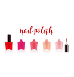 Different colors nail polish set nail varnish in vector