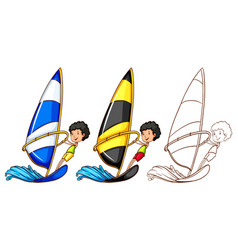 Doodle character for man sailing vector