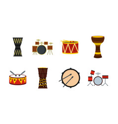 drums icon set flat style vector image