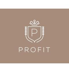 Elegant monogram letter P logotype Premium crest vector