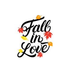 fall in love hand written lettering quote vector image