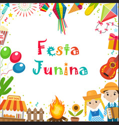 festa junina frame with space for text brazilian vector image
