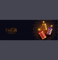Festival crackers with sparkles for happy diwali vector