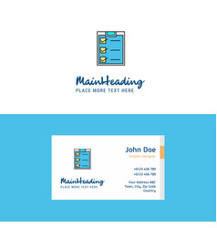 flat checklist logo and visiting card template vector image