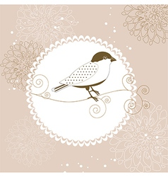 Floral greeting card with bird vector image