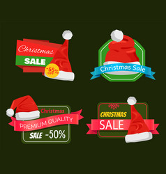 Four christmas sale posters with pretty red hats vector