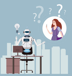 free chat bot robot virtual assistance on laptop vector image