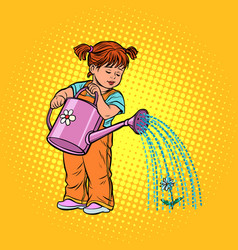 girl watering can watering a flower vector image