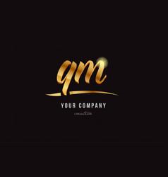 Gold alphabet letter qm q m logo combination icon vector