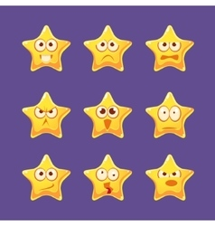 Golden Star Emoji Character Set vector