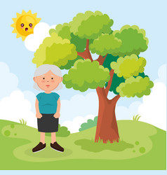 grandmother on park character vector image