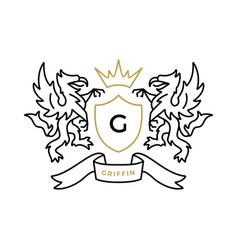 griffin gryphon eagle lion coat arms logo icon vector image