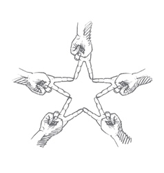 Hand drawn star formed by human fingers vector